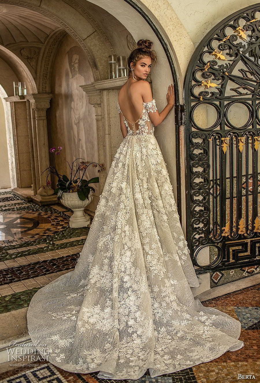 10743ff5a85 berta spring 2019 bridal off the shoulder sweetheart neckline full  embellishment romantic a line wedding dress open back chapel train (1) bv