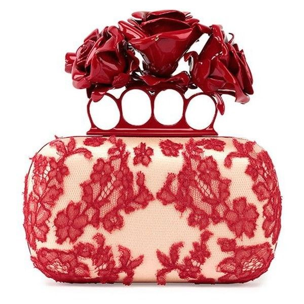 Alexander McQueen Roses Lace Knuckle Duster Box Clutch Bag ❤ liked on  Polyvore featuring bags,