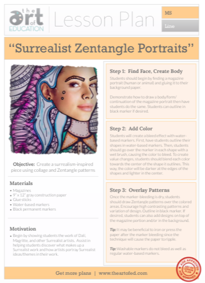 Surrealist Zentangle Portraits: Free Lesson Plan Download