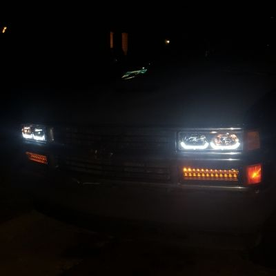 Chevy Tahoe 1995 1999 Black Headlights U Shaped Led Drl Chevy Trucks Chevy Tahoe Chevy