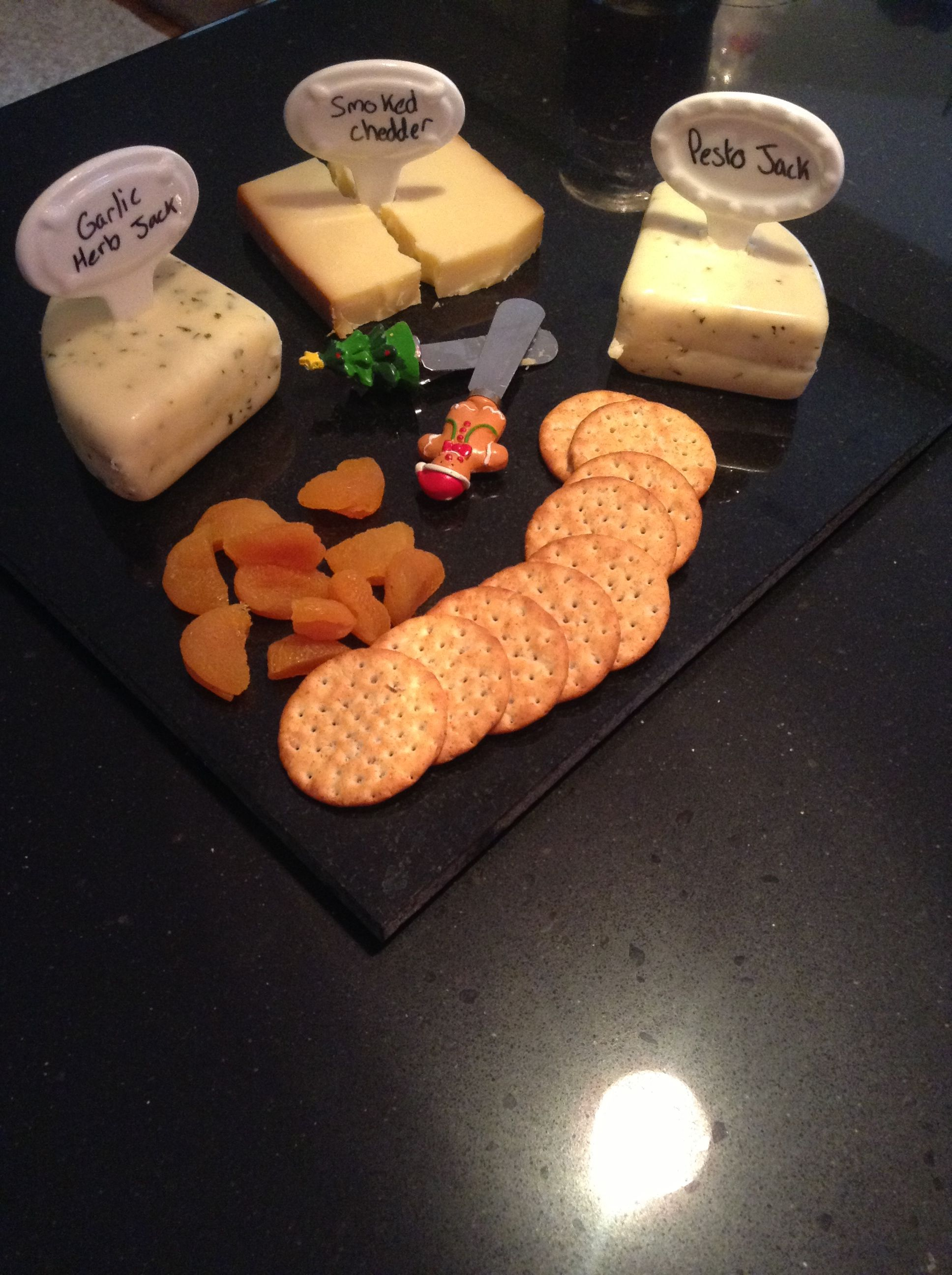 Glass cheese labels written on with dry erase marker!! Have apricots with your cheese as a compliment to the flavor of the cheese!