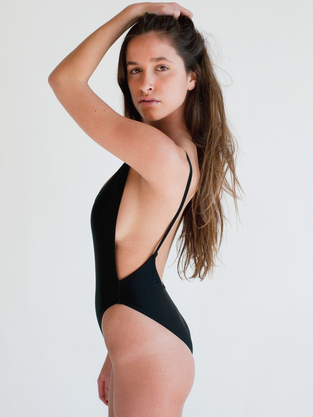 29112a7ece Nylon Tricot High-Cut One-Piece in Black by  AmericanApparel Backless One  Piece