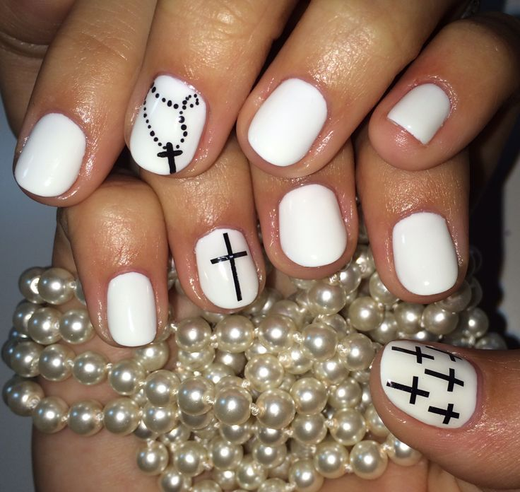 White Mani with Black Cross Nail Art Spring Summer 2014 Design #ByMargarita - White Mani With Black Cross Nail Art Spring Summer 2014 Design