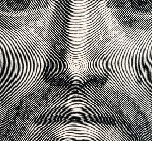 The entire image is composed with a single line starting at the tip of his nose.