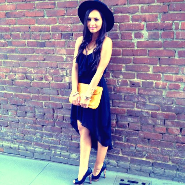 New on the blog! Black high-low dress and yellow clutch c/o AMI Clubwear. melaneeshale.blogspot.com