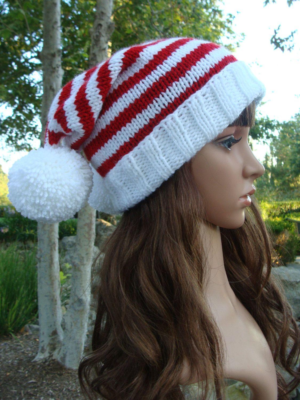 Double Pom-Pom Striped Santa Slouchy, Santa Hat with fold up brim ...