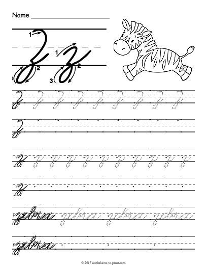 Free Printable Cursive Z Worksheet Cursive Handwriting Worksheets Cursive Writing Worksheets Teaching Cursive