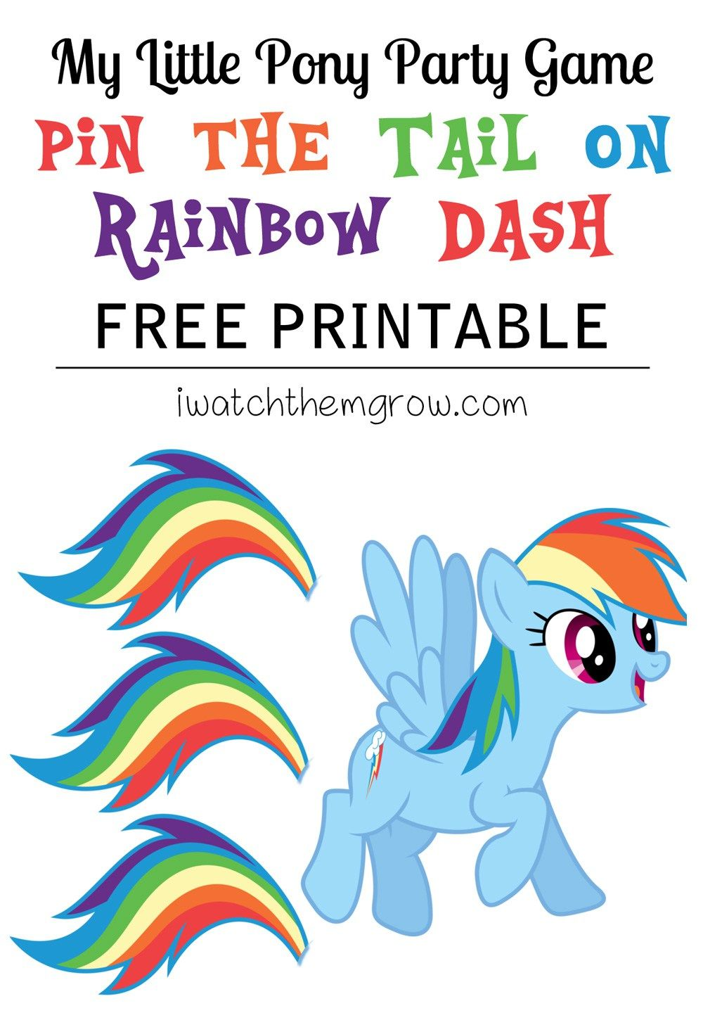 Pin the tail on rainbow dash free printable pinterest pony free printable pin the tail on rainbow dash game perfect for a my little pony party maxwellsz