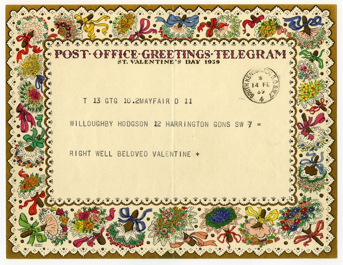 This is a post office greetings telegram from st valentineus day
