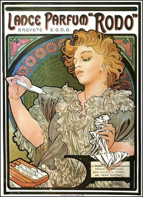"""songesoleil:  Lance parfum """"RODO"""". Breveté S.G.D.G. Le """"RODO"""" automatiquement parfumé et rafraîchit sans mouiller ni tacher. SE VEND PARTOUT. Affiche.  Art by Alfons Mucha.(1860-1939)."""