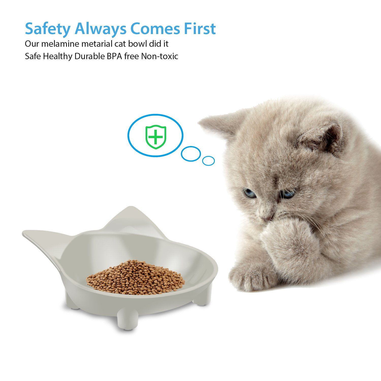 Aemiao Melamine Shallow Cat Food Bowl Wide Mouth Cat Dishes Non