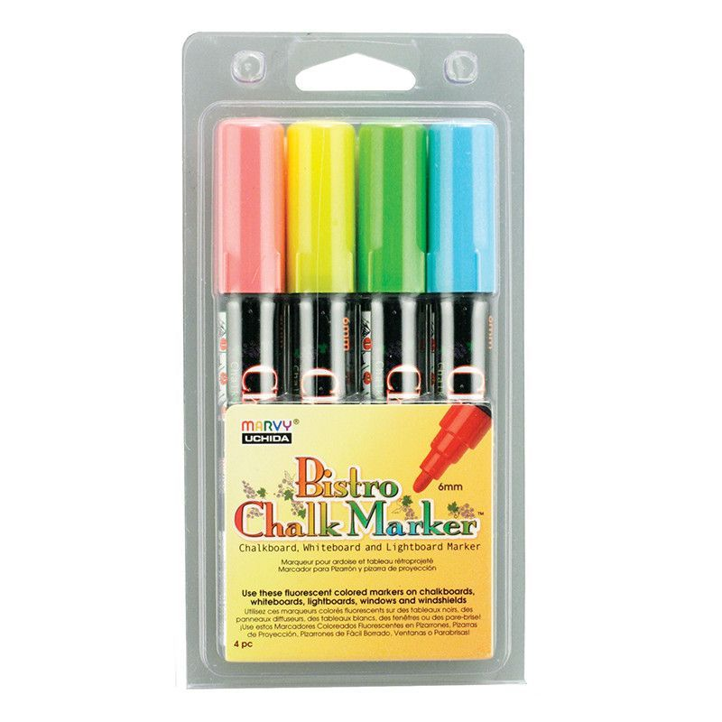 Bistro Chalk Markers Brd Tip 4 Clr Bistro Chalk Marker Chalk