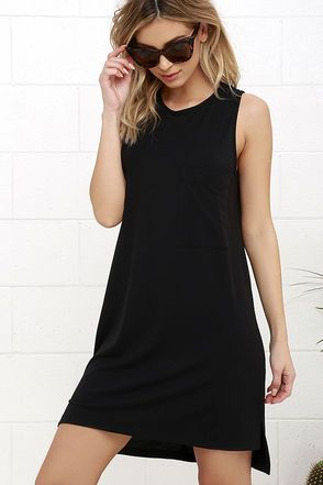 Limbo Line Black Sleeveless Dress #blacksleevelessdress