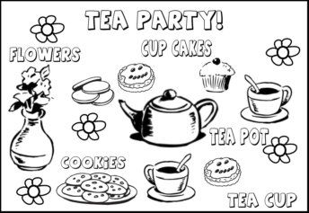 Tea Party Coloring Pages With Vocabulary