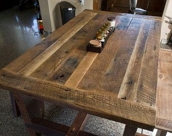 Solid Oak Reclaimed Barn Wood Dining Room Table By FamaCreations