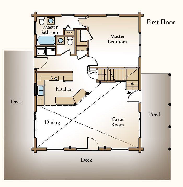 Cabin floor plans with loft free 12 x 24 shed plans for Log cabin floor plans with loft