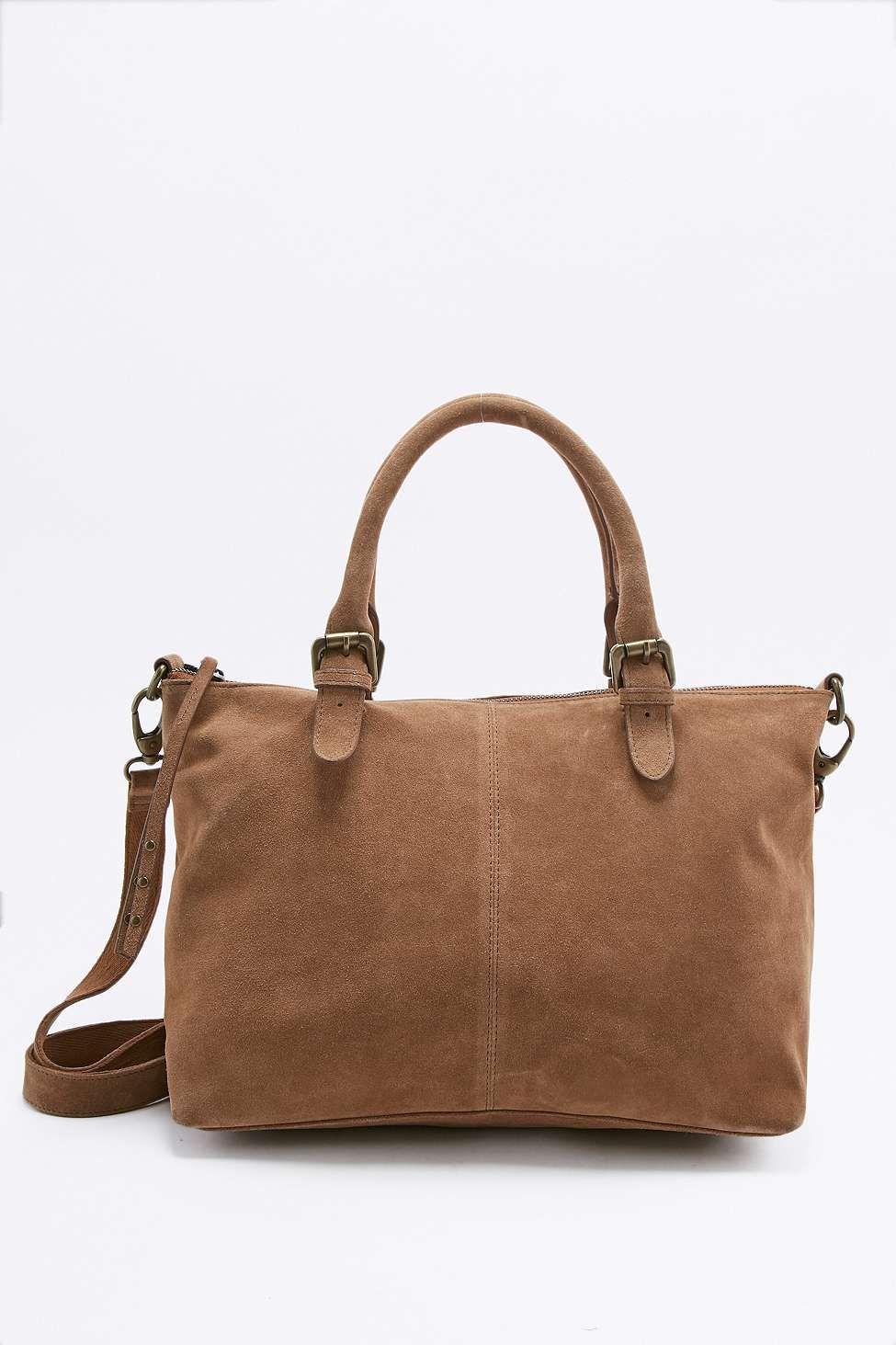 9273510527 Sac fourre-tout en daim marron   Urban outfitters   Suede tote bag ...