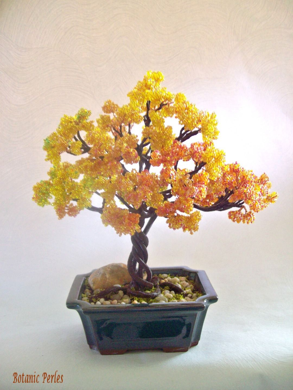 arbre en perles aux couleurs automnales accessoires de maison par botanic perles chaquiras. Black Bedroom Furniture Sets. Home Design Ideas