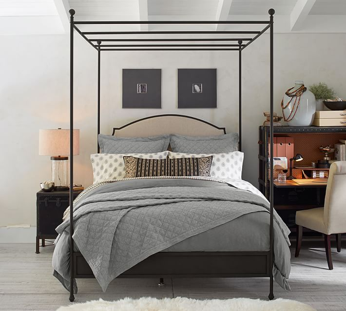 Crafted with clean symmetrical posts and rails this canopy bed has graceful style that works in harmony with its sturdy construction. & Nolan Print Lumbar Pillow Cover | My Style | Pinterest | Canopy ...