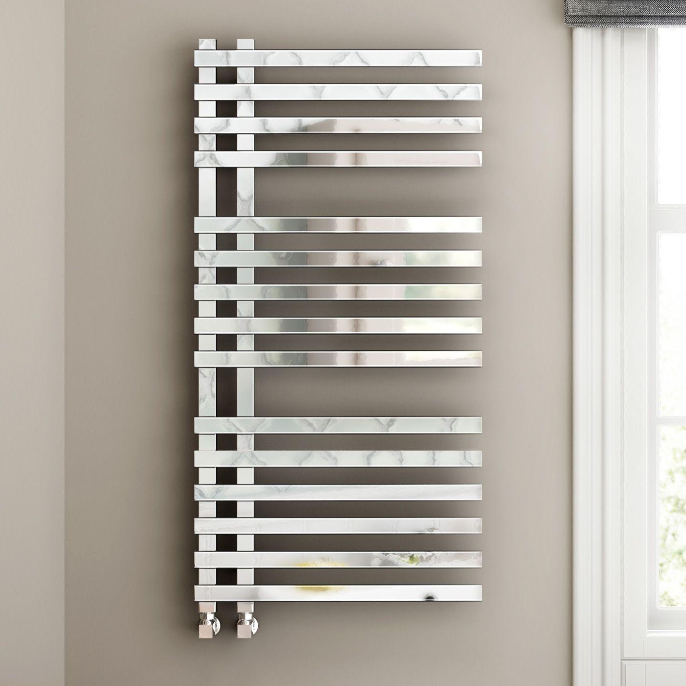 1200x600mm chrome designer towel radiator square rail
