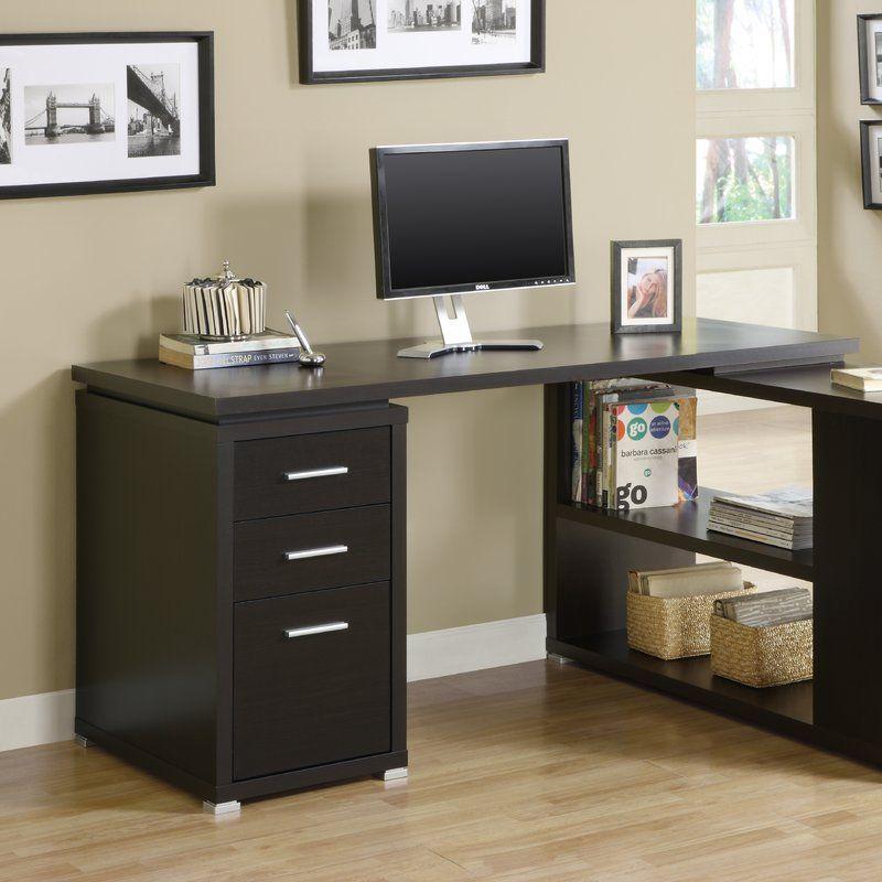 Drewes 3 Drawer L-Shaped Desk In 2019