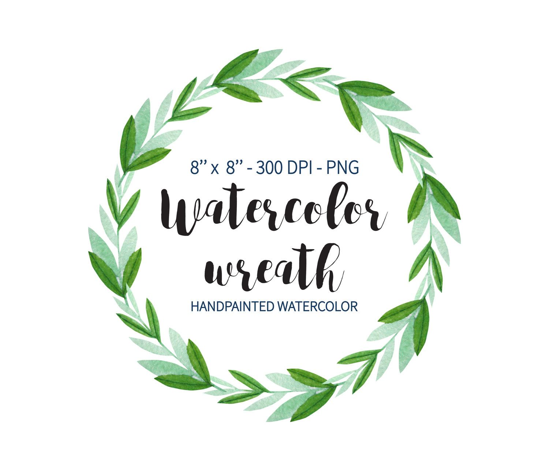 Green Eucalyptus Watercolor Wreath Clipart Floral Rustic Wedding Garden