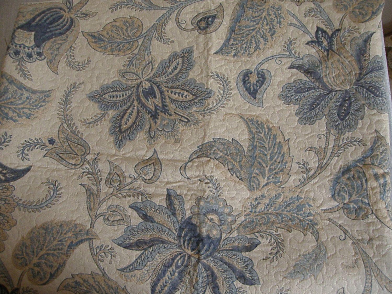 Creamy Blue and Tan Cotton Fabric. $15.00, via Etsy.