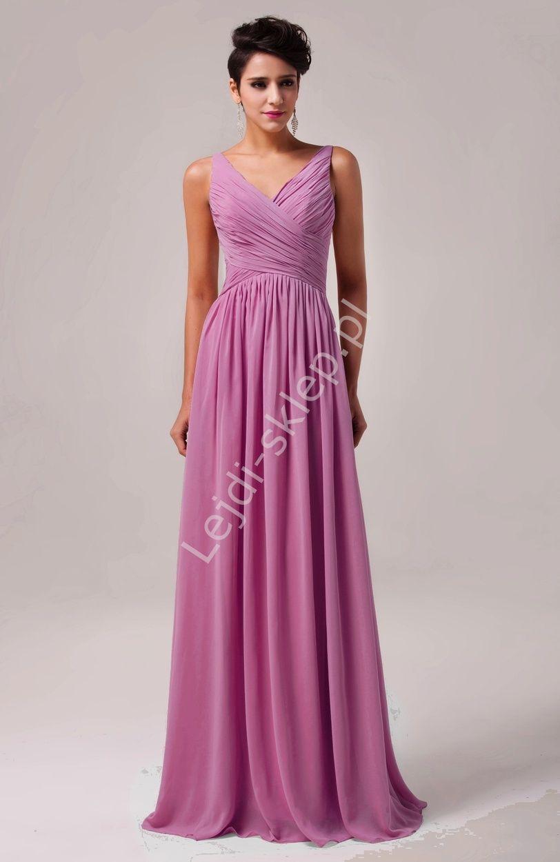 1ea734f2 Długa wrzosowa suknia na wesele   suknie wieczorowe   sukienki dla ...