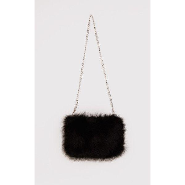 Christah Black Faux Fur Chain Shoulder Bag 22 Liked On Polyvore Featuring Bags Handbags Shoulder Bags Blac Faux Fur Bag Faux Fur Purse Faux Fur Handbag