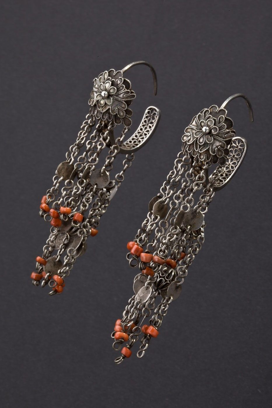 China | Silver and coral earrings.  First half 20th century.