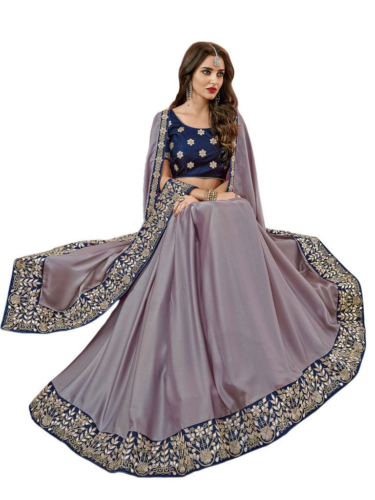 Silk saree lehenga tradtional mauve color heavy satin silk fabric with jari and gota