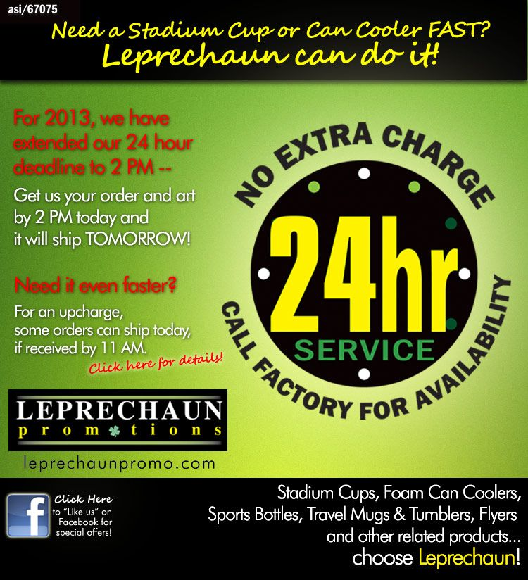 Leprechaun Promotions - Need Free 24 Hour Service? Call