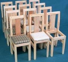 CHAIRS wooden dolls house Furniture 1:6 scale Barb