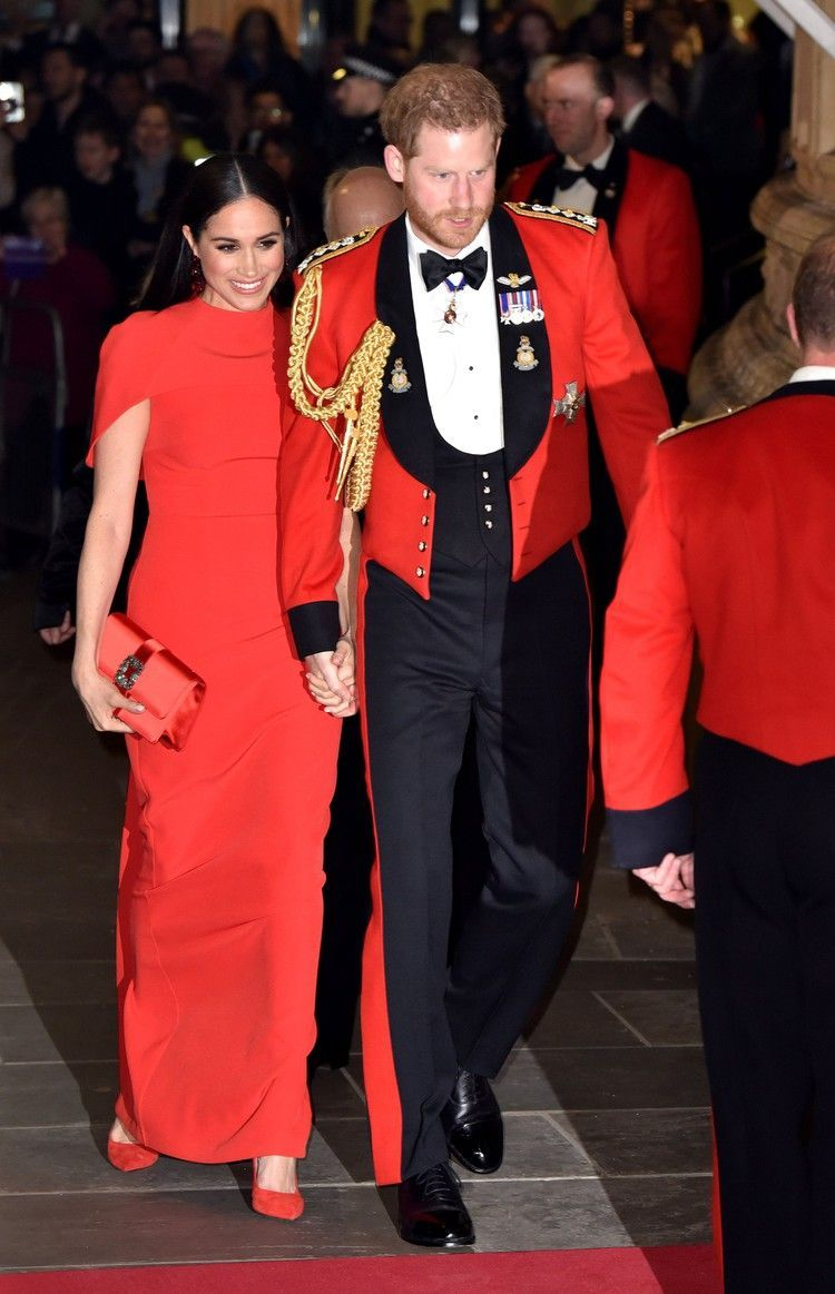 Meghan Markle Colour Co-ordinated With Prince Harry In a Striking Red Floor-Length Gown  POPSUGAR#colorful #photooftheday #cute #picoftheday #beautiful #pretty #friends #cool #portrait #skirt #dress #styleseat #fashiondaily #fashionbags #fashionpria