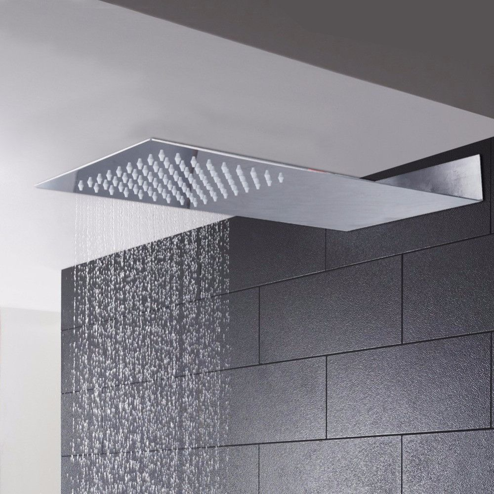 Bathroom rain showers - Shower Head Ultra Thin Square Stainless Steel Rainfall Shower Head Shower For Bathroom Rain Shower Head
