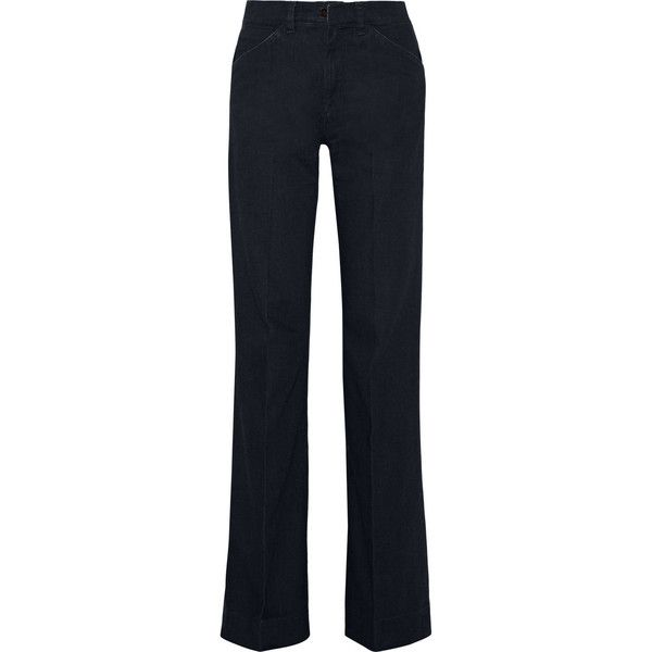 Victoria Beckham Denim High-rise wide-leg jeans ($385) ❤ liked on Polyvore featuring jeans, dark blue, slim fit jeans, high rise jeans, high-waisted jeans, high waisted wide leg jeans and shiny jeans