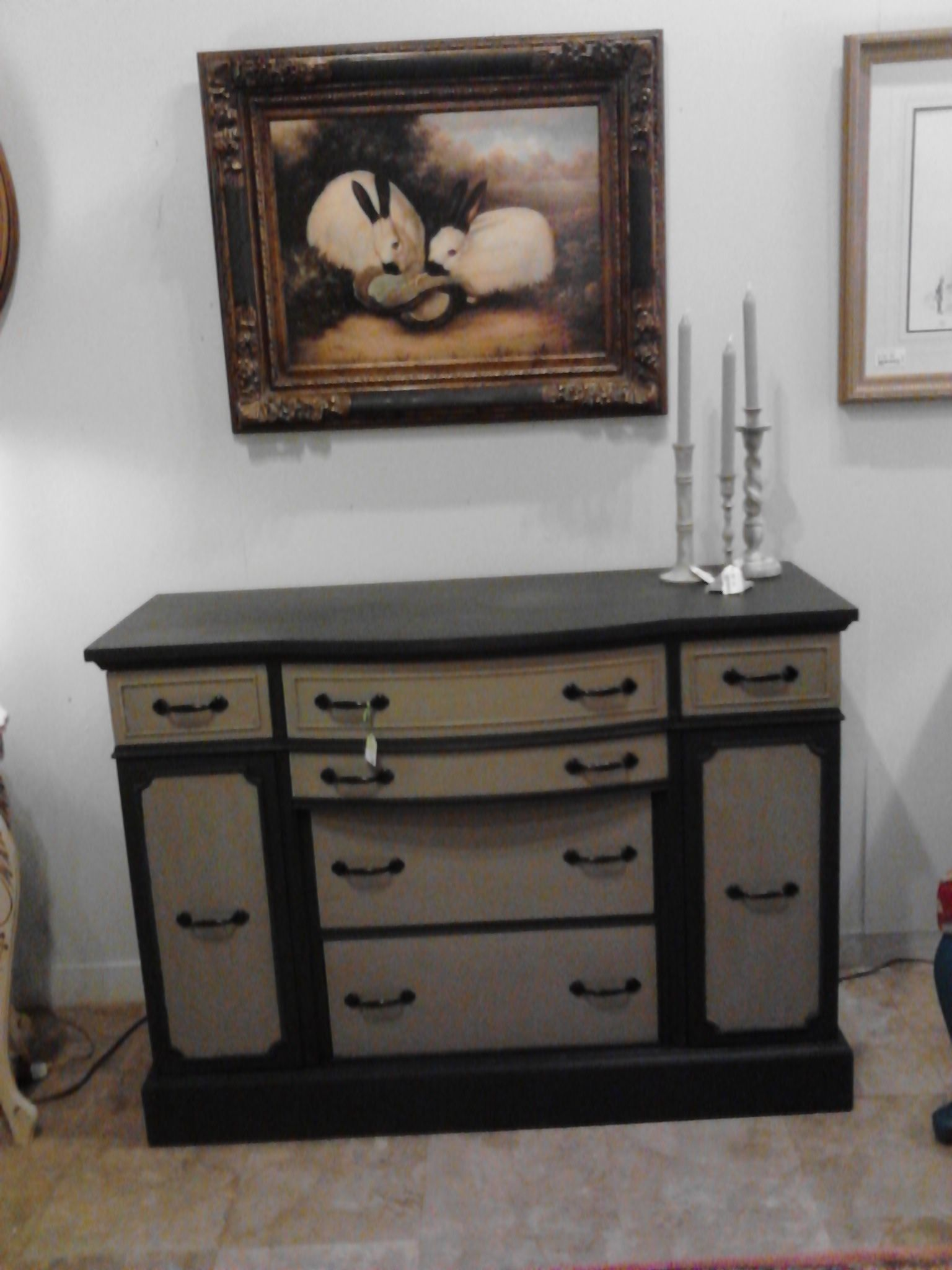 AFTER view of 40s Buffet Annie Sloan Graphite & French Linen gives