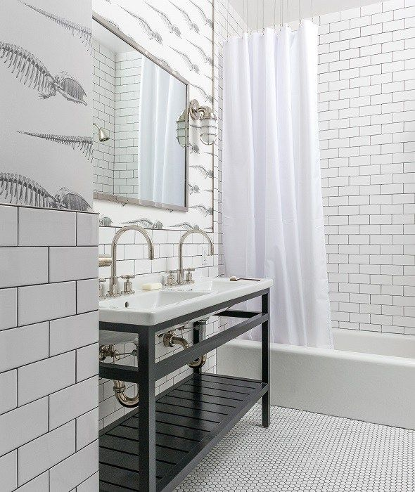 White Tile Bathroom Gray Grout black and white kids' bathroom | bathrooms | pinterest | kid