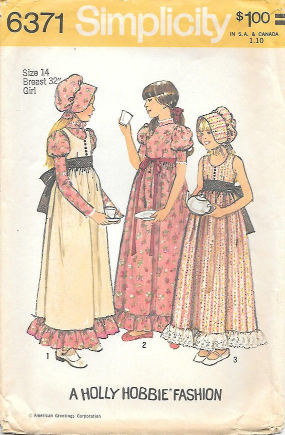 Simplicity 6371 - 1970's Girls Holly Hobbie Dress Vintage Sewing Pattern, offered on Etsy by GrandmaMadeWithLove