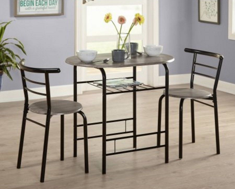 Indoor Bistro Set 3 Piece Dining Table And Chairs Black Modern Kitchen  Furniture #Generic