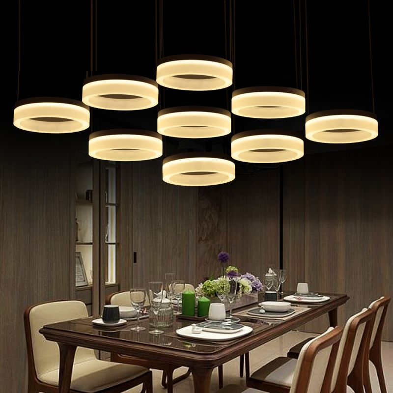 Home Office Led Ring Pendant Lights Post Modern Large Commercial Lighting Living Room Reading Work Light 110 240v Lamparas