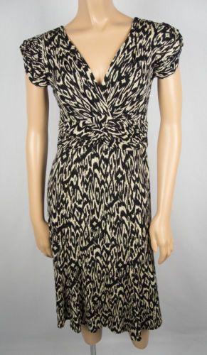 NANETTE LEPORE Dress 2 XS Jersey Knit Deep Drop Neckline Black Tan Green Stretch