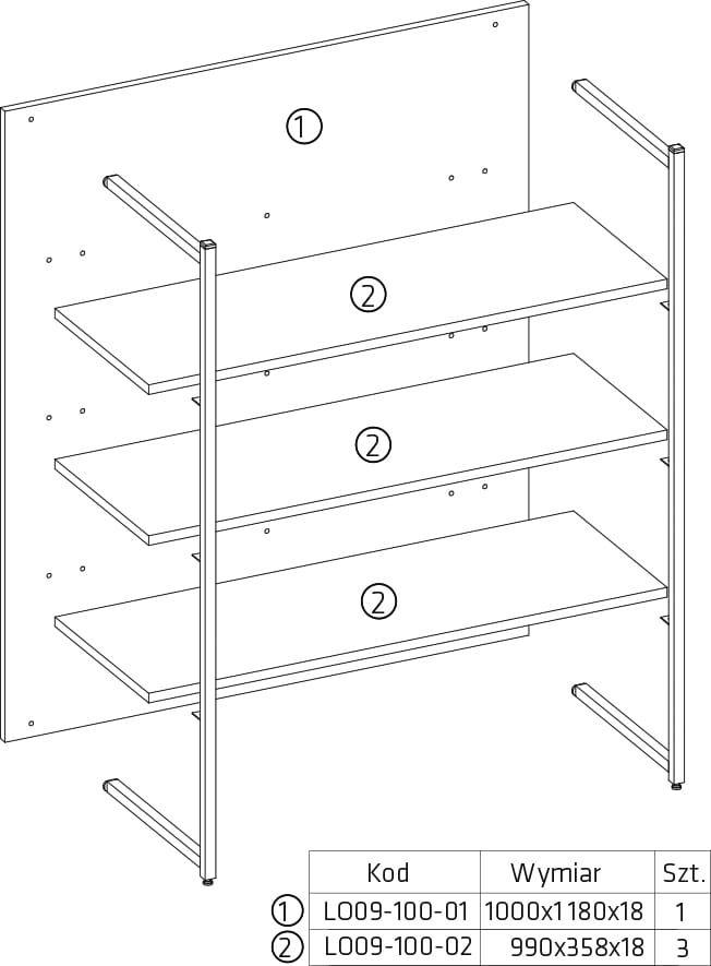 LOFT Bookcase open 100 cm alpine white
