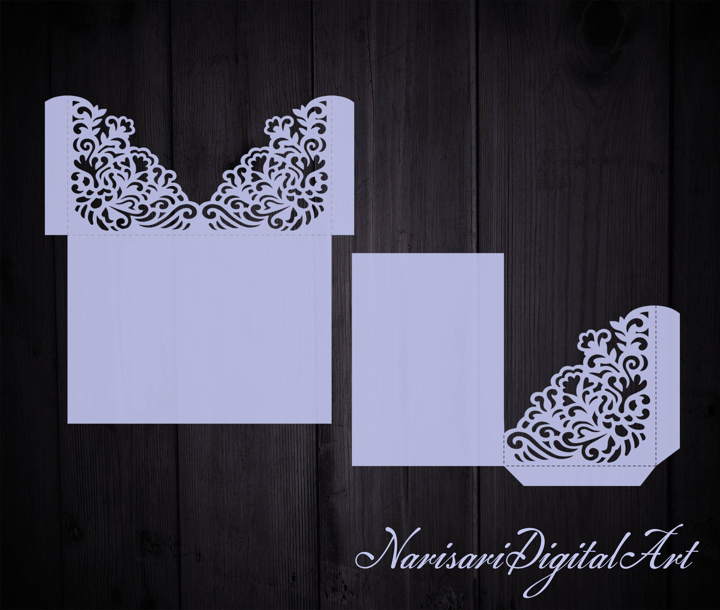 Wedding Invitation Pocket Envelope 5x7 SVG Template, Quinceanera ...