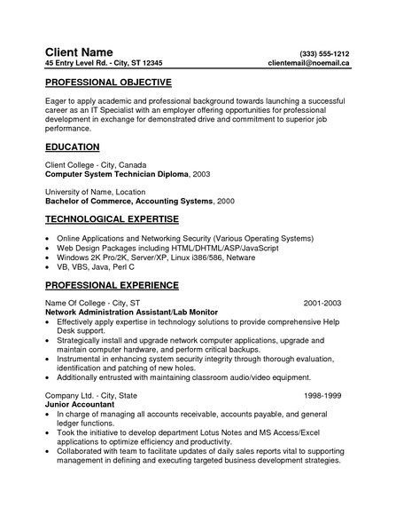 General Resume Objective For Entry Level Resume