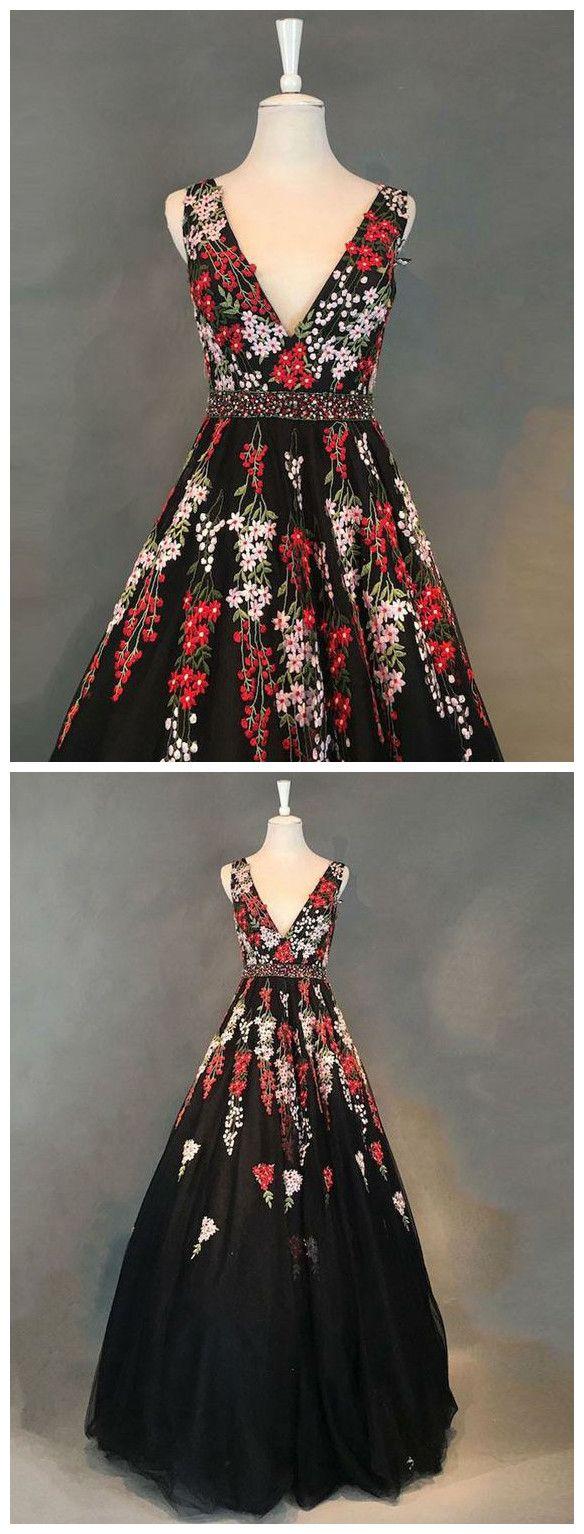Chic aline v neck prom dress floor length with applique black prom