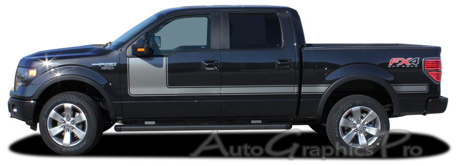 """2009 - 2014 Ford F-150 """"FORCE ONE"""" Factory Style Hockey Stick Side Vinyl Decal Graphic Stripes fits 163.1 inch wheelbase or less"""