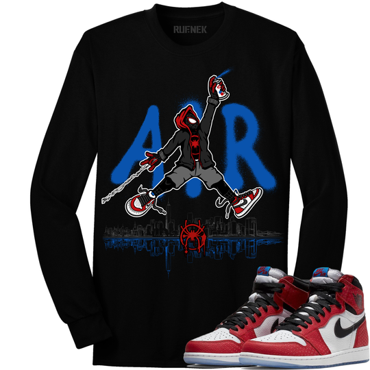 1710a58e014bbd Original Rufnek T-Shirt Jordan Retro 1 Origin Spider-Man Sneaker Long  Sleeve Shirt - AIR SPIDEY