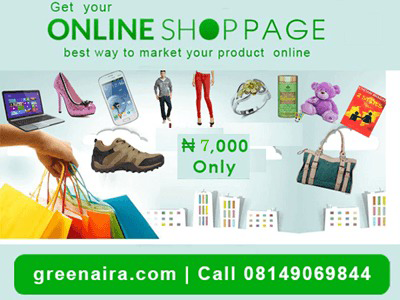 Call Now Your own Own Online Shop page for N7,000 Naira