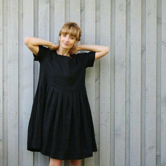 162b4ad49d3 Lin surdimensionné robe - noir surdimensionné Dress - robe en lin - robe  coupe ample - fait à la main par OFFON